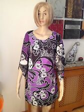 GREAT WALLIS TUNIC DRESS IN PURPLE, BLACK & WHITE UK SIZE 8 PETITE WORN