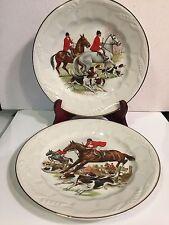 Royal Crownford Falcon Ware Wheat Pattern Hunting Scenes Salad/Dessert Plates-2