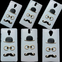 3D Cute Fashion Hat Glasses Mustache Beard Back Hard Skin Case Cover for Phones