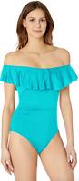 La Blanca Blue Off Shoulder Ruffle One Piece Swimsuit Women's Size 4 15503