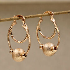 Filled Stud Earrings Hoop Dangle women Bohemian 2-layer Circle in Ball 18K Gold