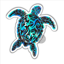 Sea turtle vinyl sticker tribal paua shell abalone New Zealand Maori 99 x 93mm