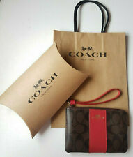 Coach Signature Corner Zip Brown True Red Strap Wristlet with Box & Bag - NWT