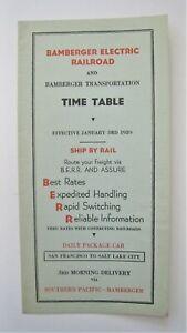 Vintage 1939 Bamberger Electric Railroad Trolley Timetable Salt Lake City Utah