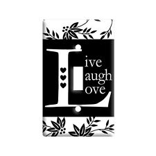 Live Laugh Love Black White - Plastic Wall Decor Toggle Light Switch Plate Cover