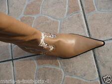 BOTTES SANTIAG BOTTE cuir FERUCCI beige 38 valeur 170eu