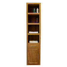 Tall Solid Oak Display Cabinet Bookcase Storage Unit Bathroom & Living Room 0555