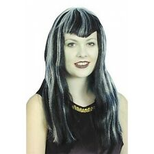 Vampiress Black and White Wig, Dracula, Witches, Halloween, Fancy Dress 1414602