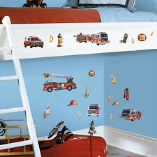 RoomMates Wandsticker Wandtattoo Feuerwehrauto Kinderzimmer Wandaufkleber
