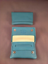 SMALL / MINIATURE GBD Leather Tobacco Cigarette Rolling Pouch- Turquoise