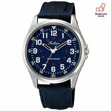 New CITIZEN Q&Q Watches Falcon Navy Nylon/Leather Belt Men's QB38-315 F/S