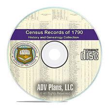 1790 Census Records, Original US Census Reports, 12 Vintage Volumes Books CD V80