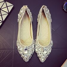 Women's pointed toe Wedding shoes Flats Shiny Rhinestone Bridal Shoes comfy P257