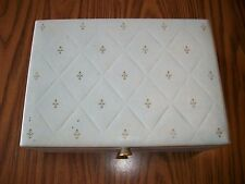 Vintage Mid-Century Pale Blue Jewelry Box-Velvet Interior-Gold-Collectible-Charm