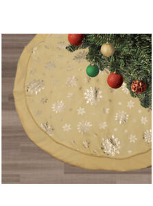 Christmas Tree Skirt 48 inches Snowy Snowflake Triple Layer-Butter Yellow New