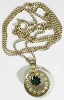 pendentif chaine bijou vintage couleur argent cristal diamant émeraude * 4959