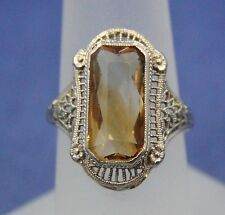 Art Deco 14K White Gold Filigree Ring Sz 5 1/2 Yellow Citrine