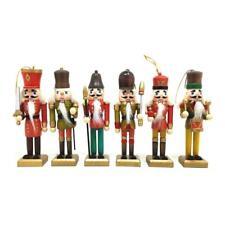 6Pcs 13cm Wooden Ornaments Christmas Nutcracker Walnut Soldiers Home Decor s