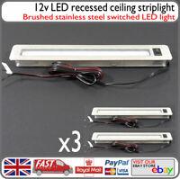 3x 12v LED Dimmable Kitchen Bathroom Strip Light Brushed Stainless Steel Caravan