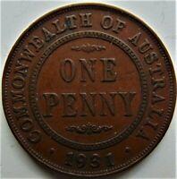 1931 AUSTRALIA GEORGE V, Bronze Penny, grading VERY FINE. Dropped 1, London Die