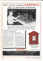 """1949 Gamewell Co. """"Lowell, Mass Fire Department""""  Classic Alarm Vintage Print Ad"""