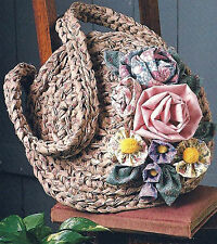 CROCHET FLORAL RAG BAG  PATTERN EASY MAKE   FROM RAGS  (692)