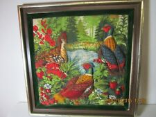 "UNIQUE 3-D QUILTED RING NECK PHEASANT FABRIC PICTURE IN FRAME 13 1/4"" X 13 1/4"""