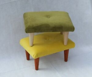 Small Velvet Buttoned Footstool - Fabric Foot Rest - Moss Green Velvet Stool