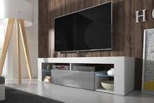 Bianko Meuble TV moderne 140 cm  Blanc Noir Gris LED bleue