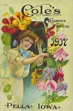 COLE'S SEED CATALOGUE COVER, 1917, SWEET PEAS, NASTURTIUMS, FRIDGE MAGNET