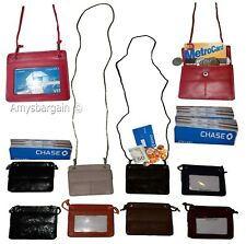 Lot of 10 Women's Neck String ID Travel Neck Pouch Wallet biz Credit Card case