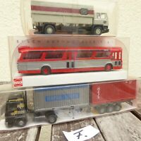 Roskopf, Busch, Wiking Konvolut 2 Stück LKW + US Bus USA, neuwertig, Konvolut F