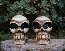 Skull Skeleton Head Wood Carving Statue Pirate Man Cave Tiki Bar Set of 2