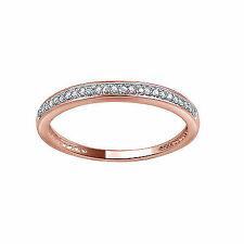 Women's 10k Rose Gold Round Cut Pave Set Diamond Bridal Band Ring 0.05ct