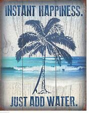 Instant Happines Palm Tree Surf Board Beach Vintage Style Retro Metal Sign Decor