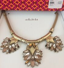 Stella & Dot Helena Necklace Gold and Pink New in Box with TAGS on side of box