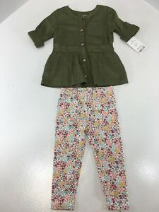 Carters Baby Girls 3/4 Sleeve Shirt + Floral Leggings Color Olive Size 12M NWT #