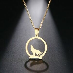 DOTIFI Stainless Steel Necklace For Women Man Wolf On The Hill Pendant Choker