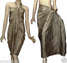 Hand Woven Art Silk Pareo Beach Scarf Sarong Wrap Cover Up Solid KK Dusty Gold