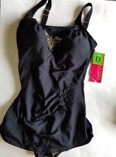 $84 Roxanne Pleated Sheath Black One Piece Swimwear Bathing Suit Sz 14 Bra 36D