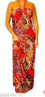 New Red Long MAXI DRESS Halter Sexy Multicolor Beach Sun Casual Summer S M L XL