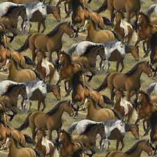 Wild Wings Rhapsody West Packed Horses 100% cotton Fabric by the yard