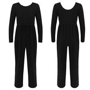 Kids Girls One-piece Jumpsuit Long Sleeve Loose Pants Casual Pure Color Bodysuit
