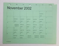 DAWSON'S CREEK set used paperwork ~ PRODUCTION CALENDAR schedule page ~ Nov 2002