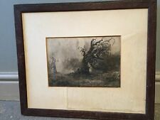 Antique Wc Landscape OAK TREE - Woodland. Listed F.Mercer. C1900