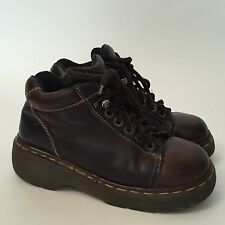 Vintage Doc Dr MARTENS Brown LEATHER ANKLE BOOTS Laceup Mens 6 Women's 6.5, 7
