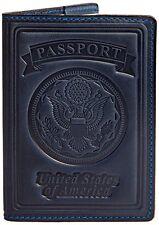 Villini 100% Leather US Passport Holder Cover Case For Men Women Blue Vintage