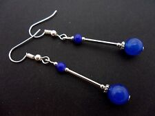 A PAIR OF DANGLY BLUE JADE BEAD  SILVER PLATED DROP EARRINGS.