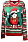 Women's 33 Degrees Santa Cat Holiday Party Ugly Christmas Xmas Sweater Sz L A925