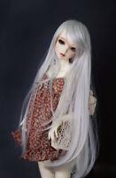 "7-8"" 1/4 BJD Long Straight Smoky Silver Wig LUTS Doll SD DZ DOD MSD Hair UAL#"